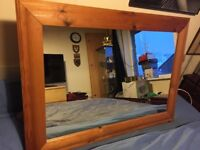 """Large Honey Pine Mirror 36"""" x 26"""" in great condition"""