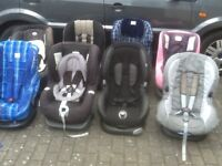 Car seats for 9kg upto 18kg(9mths -4yrs)several available-all checked,fully working,washed& cleaned