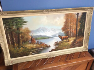 Antique framed large signed oil painting on canvas