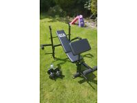 BRAND NEW - Gym bench with weights