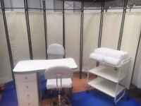 Mobile Manicure Nail Salon Technician Work Station Table/2 Swivel Chairs/Trolley