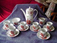 VINTAGE MYOTT BERMUDA ORANGE COFFEE SET - 15 PIECES