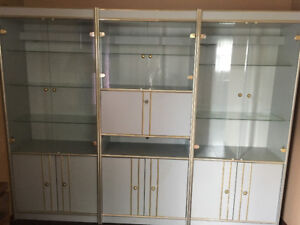 Glass shelving unit with light