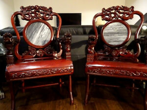 CHINESE DRAGON CHAIRS carved ZITAN? rosewood ORNATE marble SCARC