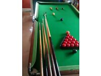Snooker table approx half size 6' x 3' folding legs melamine bed