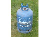 one 15kg butane gas bottle nearly full and one 4.5kg butane gas bottle empty