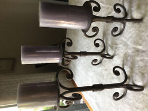 Brown Cast Iron Candle Holder Set