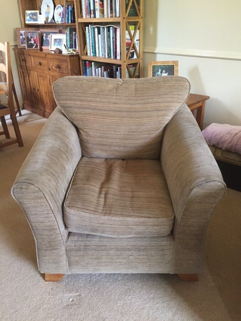 Two large seat sofa and chair