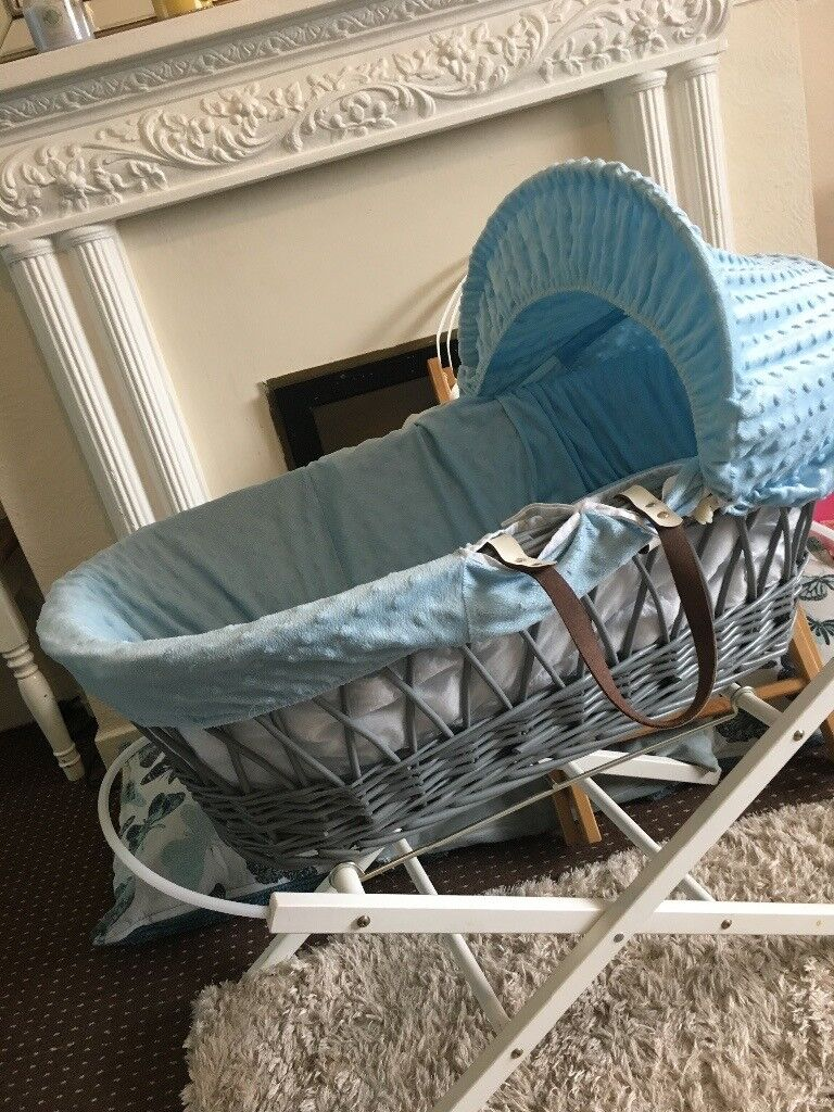 Luxury Moses Basket made from real wicker with leather handles and choice of standsin Mansfield, NottinghamshireGumtree - Gorgeous Moses basket made from real wicker (very sturdy unlike the flimsy weave ones). Has leather handles which are very strong when carrying. Comes with mattress and wedge (helps reflux). There is a choice of stands white or wood. Or you can have...