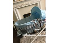 Luxury Moses Basket made from real wicker with leather handles and choice of stands.