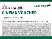 6 x £10 Cineworld cinema ticket vouchers