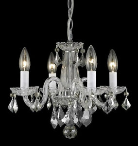 2 GORGEOUS 4-LIGHT CHROME & CRYSTAL CHANDELIERS - FLAWLESS!!!
