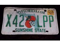 .(Florida) number plate