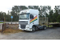 Left hand drive DAF XF 95 430 Super Space Cab tractor unit. Manual injector pump.