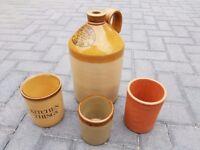 Earthenware Flagon & 3 pots