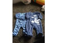 Boys woolly sleep suits 0-3 months