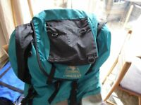 Coleman Conquest Backpack in Turqoise and Black with frame for comfort