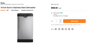 """18"""" STAINLESS STEEL DISHWASHER - 50% OFF HOME DEPOT'S CURRENT $"""