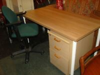 Home or Office Furniture Set. Ikea Table, Office Chair and 3 Drawer Pedestal