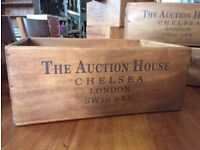 CLEARANCE SALE Brand New Vintage/Retro Solid Wood Chelsea Auction House 43cm Storage/Display Box