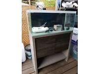 Fluval M90 marine aquarium with deltec skimmer. Ro filter. Heater and test kit