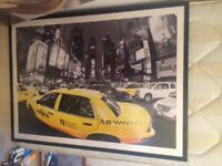 Extra Large New York Yellow Taxi picture in a frame