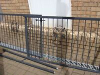 Gates Driveway BARGAIN 10 Ft Wide 3 Ft High. Painted Matt Black Undercoat with Wrought Iron Panel