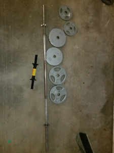 Barbell w/ weights and loadable dumbbell