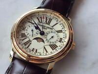 Large Vintage 9k 9ct Gold Frederique Constant Moon Phase Triple Date Mens Watch
