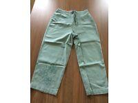 Berkertex ladies duck egg blue 100% cotton embroidered crop trousers size 10