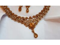 Dusky gold necklace and earrings