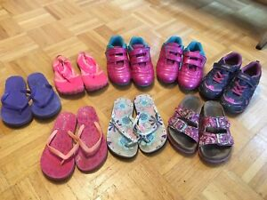 Girls shoes, cleats, sandals and flip flops