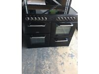 Black Kensington Belling Ceramic glass top Cooker