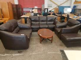 Large brown leather 3 seater with 2 seater, armchair and pouffe set