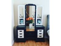 Huge Solid Oak Dressing Chest Table Twin Pedestal Black White Chevron Bedroom Hand Painted Furniture