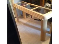 Art Deco Effect, Light Oak Wood Console Table With 3 Bevelled Edge Smoked Glass Inlays