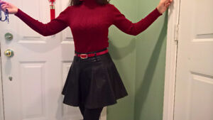 Cute black leather dress with red belt