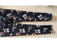 WAREHOUSE Floral Slim Trousers UK Size 6