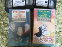 Terry Pratchett - Animated films - Wyrd Sisters and Soul Music on VHS cassette - £4 each
