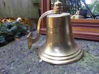 Solid Brass Traditional Ships / pub or door Bell - 6 inch with wall bracket