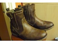 Caterpillar Mens CAT RAW Vinson Brown Leather Biker Ankle Boots, UK 10 Wide Fit