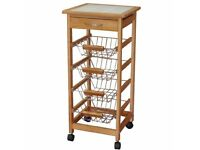 Robert Dyas Kitchen Trolley Veg Rack Tile-Topped with Solid Wood Frame