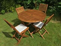 5 Piece Dining Set Outdoor Garden Patio Wood 1 Table 4 Chairs Furniture
