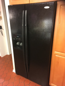 Whirlpool Side by Side Refrigerator and KitcheAid Wall Oven