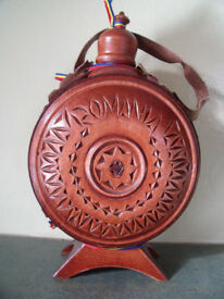 ** NEW ** Romania carved wood and glass flask/bottle/canteen for wine/water etc. £8 ovno.