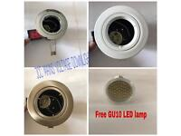JCC GU10 MAINS SPOTLIGHT, DOWNLIGHT WITH FREE LED GU10 LAMP