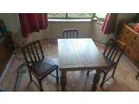 Vintage oak dining table and 3 chairs