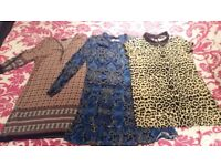 Selection of tops/dresses, size 14.