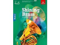 ABRSM Shining Brass, Book 2 & Piano Accompaniment book, 18 pieces with performance & backing CDs