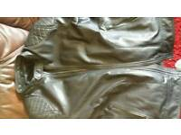 Black leather motor bike jacket